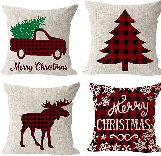 Merry Christmas Pillow Cases Cotton Linen Sofa Cushion Cover Home Decor Bless 9