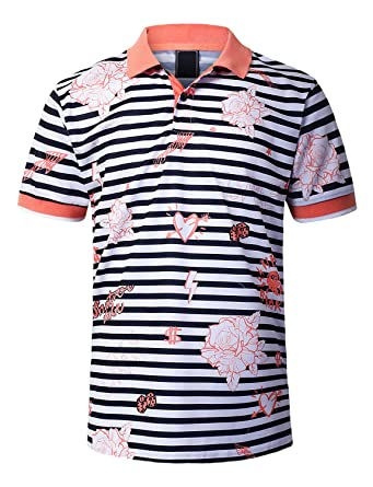 ecd63d561 URBANCREWS Mens Hipster Hip Hop Drawing Striped Poly Polo T-Shirt Coral, S