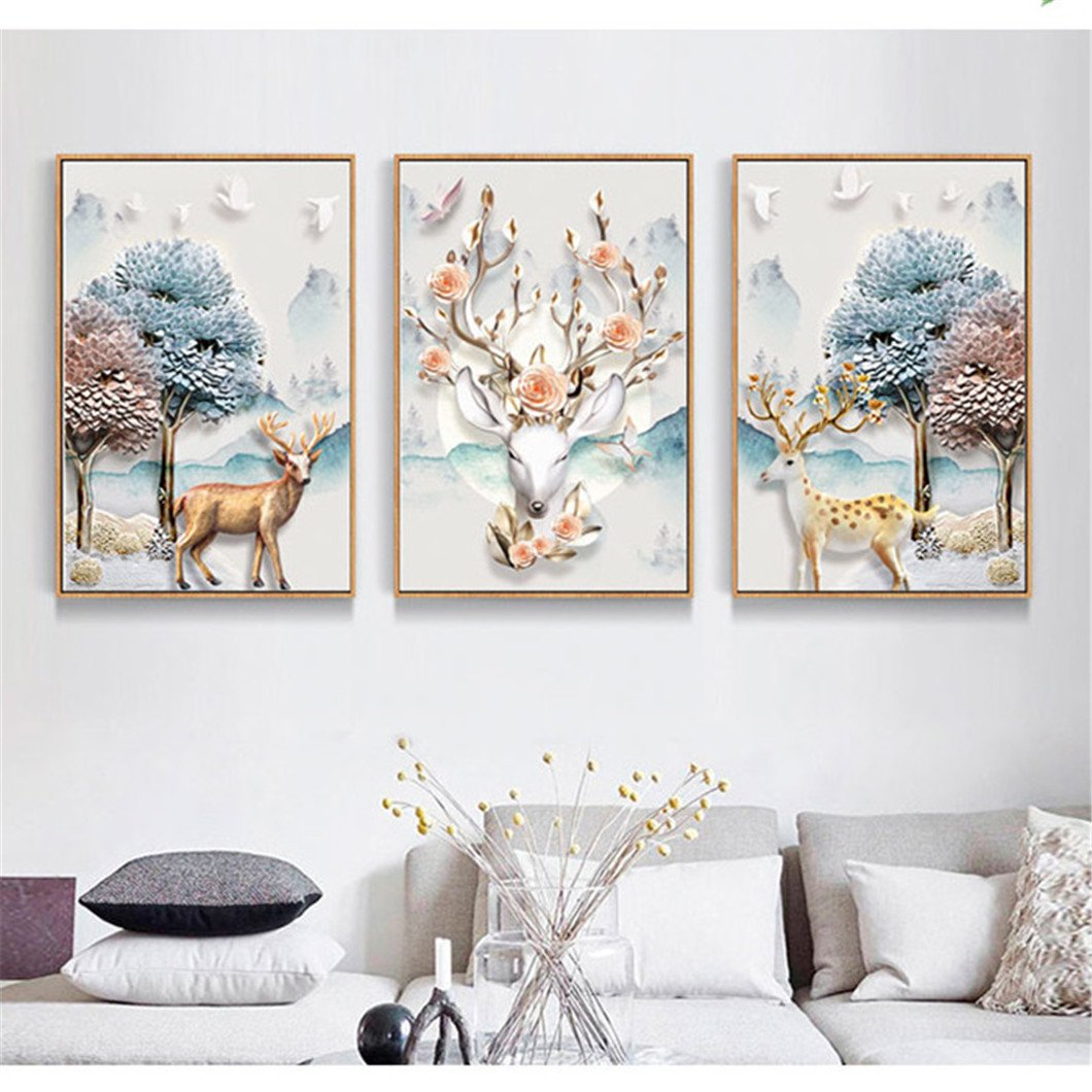 Mazixun DIY Diamond Painting Special ''Elk & Tree'' 3D 5D Diamond Embroidery Full Cross Stitch Diamond Mosaic Bead Picture Home Decor