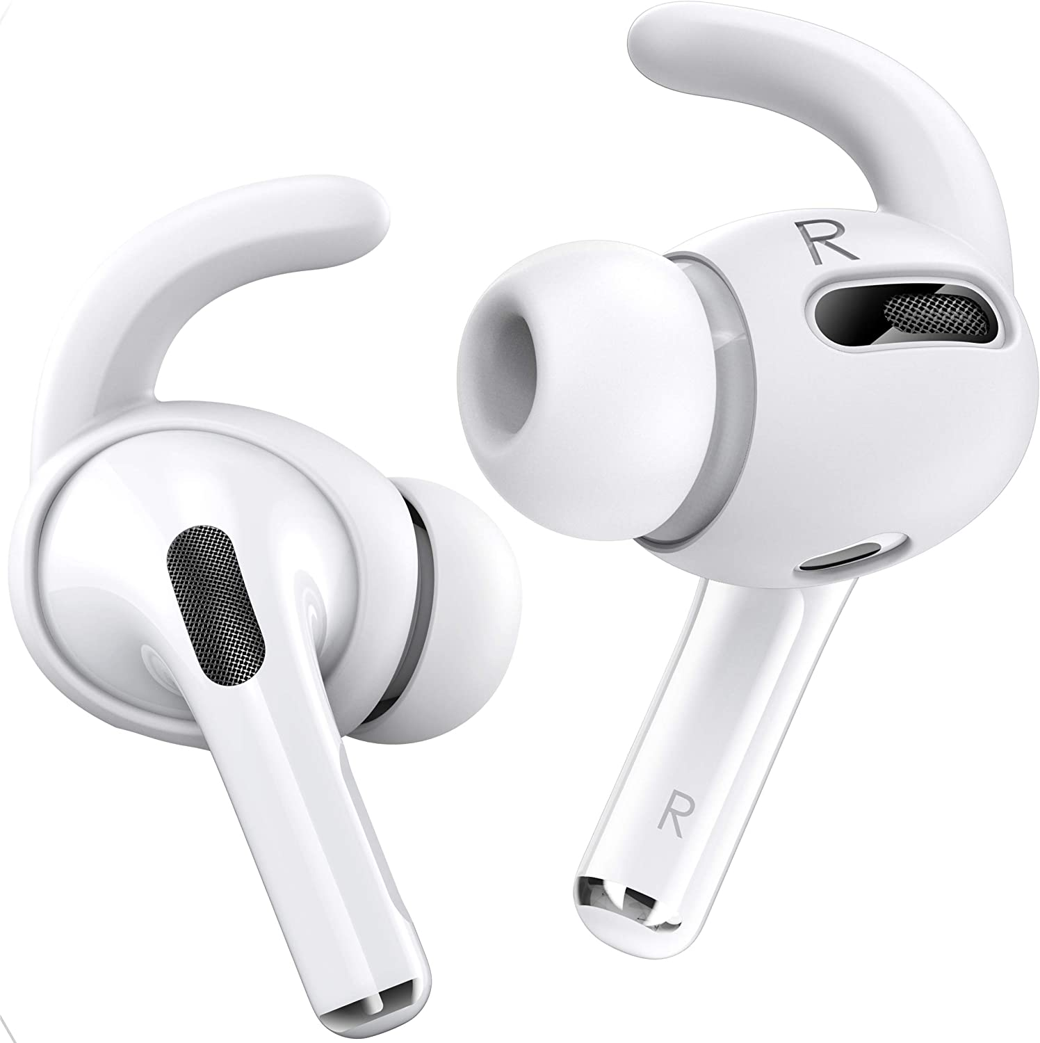 Proof Labs 3 Pairs AirPods Pro Ear Hooks Covers [Added Storage Pouch] Compatible with Apple AirPods Pro (White)