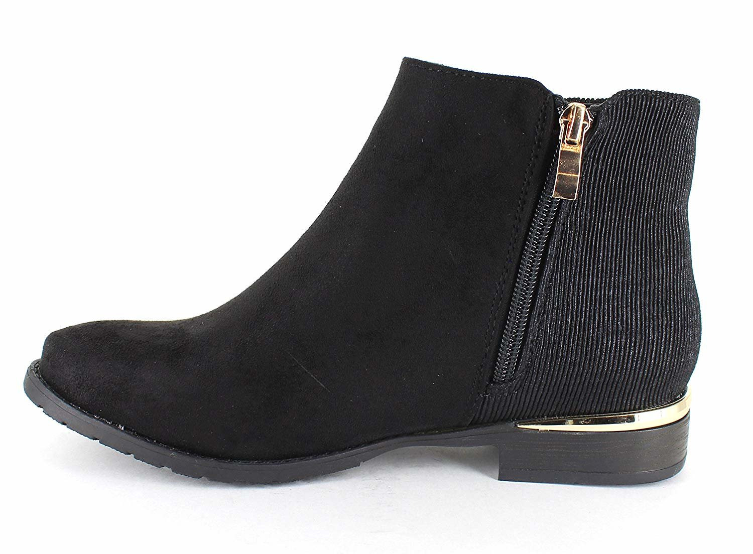 only U Casual Faux Boots Suede Gold Trim Ankle Boots Faux B07F9LHLJC 8 B(M) US|Black 428f11