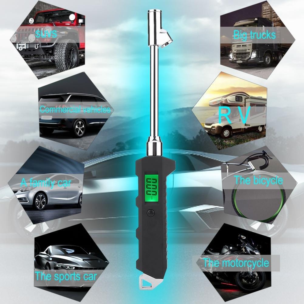 Hlyjoon Reifendruckmesser 200PSI Auto Digital Reifendruckpr/üfer Dual Head Reifendruckmessger/ät mit LCD Hintergrundbeleuchtung Tragbar Kfz Reifendruck Messger/ät f/ür Auto LKW Motorrad Fahrrad