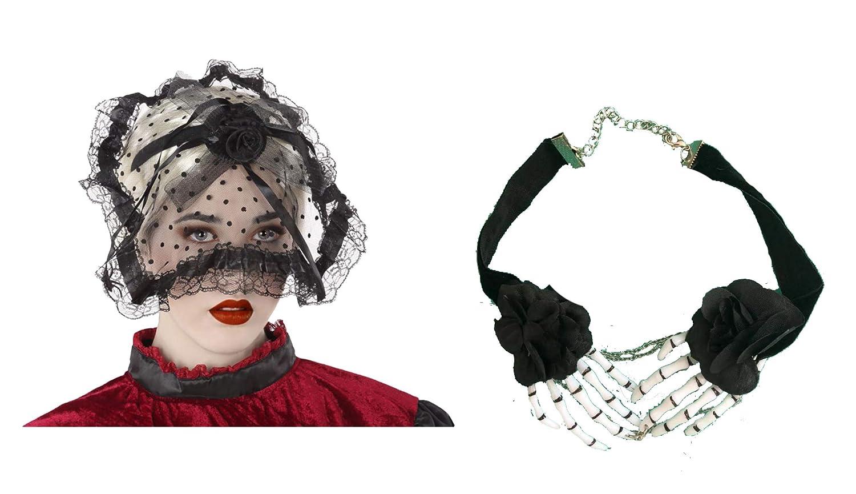 Cisne 2013, S.L. Pack de Diadema Tocado Negro Y Collar Esqueleto ...