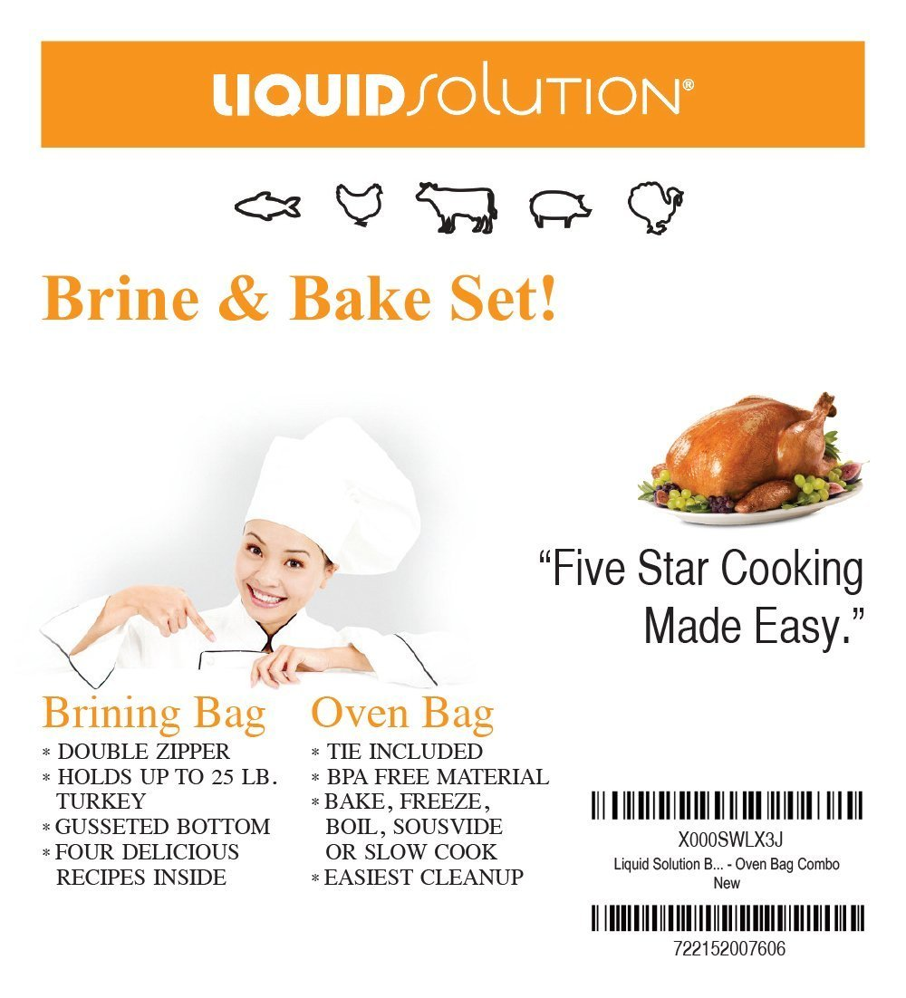 XL Brining Bag/Oven Bag combo Pefect for Turkey Liquid Solution COMIN16JU035319