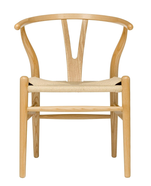 Amazon Com Hans Wegner Wishbone Style Woven Seat Chair Ash With