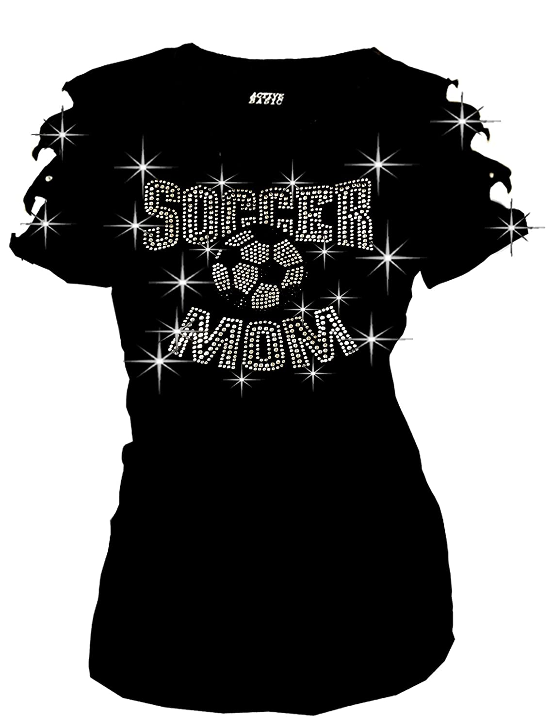Fashion2ne1 Soccer Mom Bling Bling Rhinestone Soccer Ball T-Shirt Ripped  Cut Out at Amazon Women s Clothing store  260a63c9e997