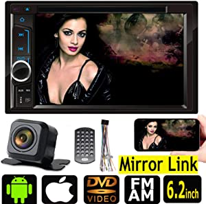 For 1998-2012 Ford F-150 Double Din 7 Inch In Dash Car Stereo Audio Car DVD/CD/MP3 Player Bluetooth FM AM Radio with Mirror Link for GPS/TV/Video and Steering Wheel Control+ Free Rear Camera