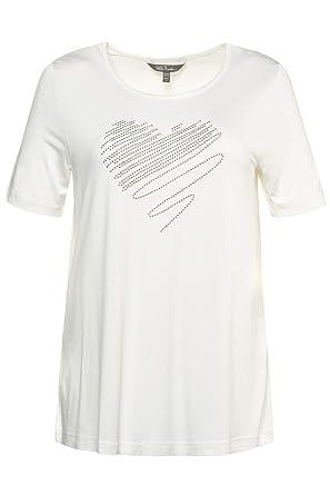 dfe35f9edaa Ulla Popken Femme Grandes Tailles T-Shirt col Rond avec Rivets Brillants  Blanc cassé 44