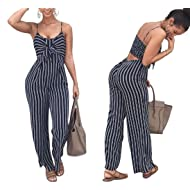 853c7a0a64f JINTING Women Spaghetti Strap Sleeveless Wide Leg Long Pants Cut Out Back  Striped Casual Jumpsuit Romper
