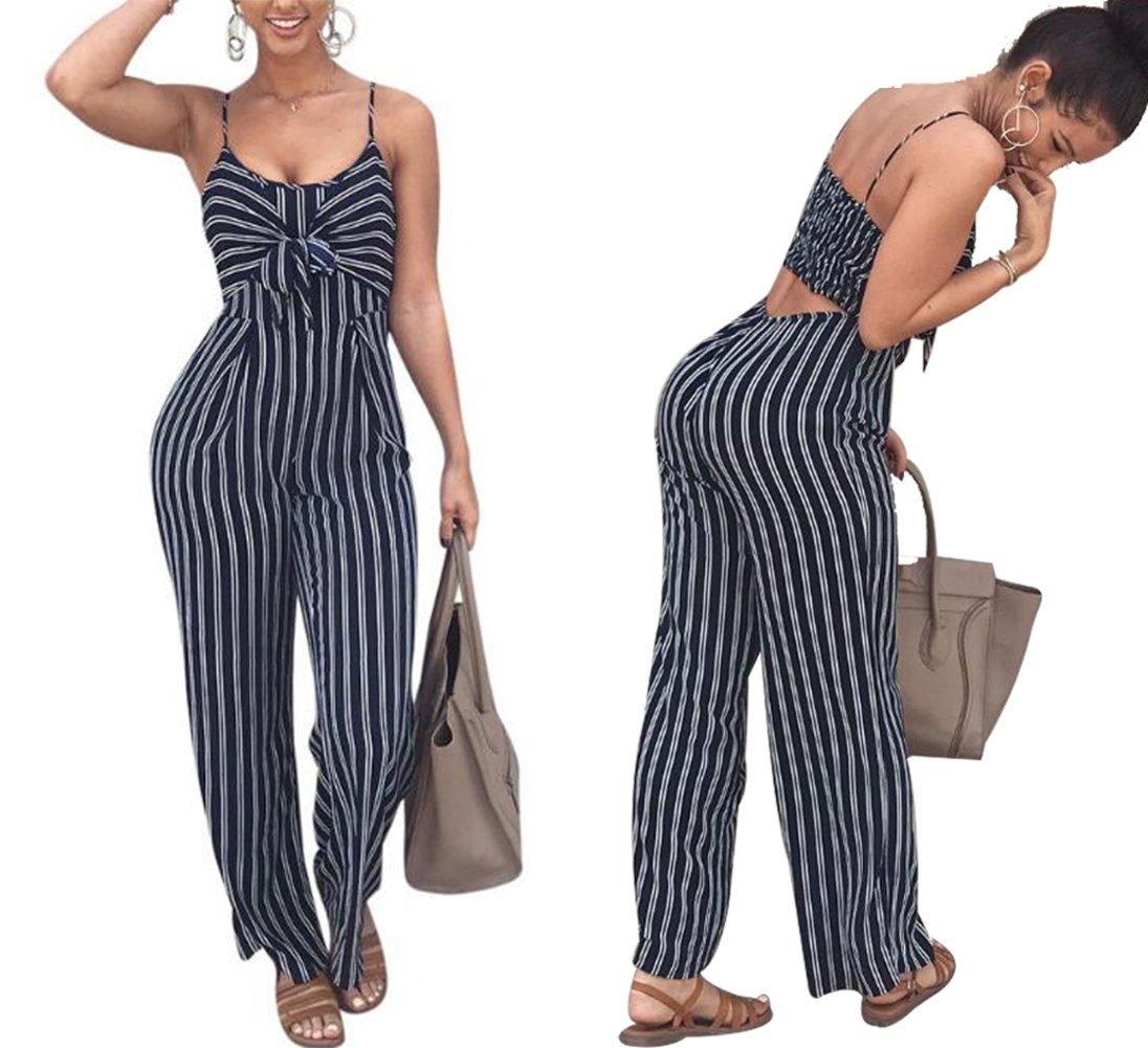 JINTING Cut Out Back Jumpsuit Women Spaghetti Strap Wide Leg Long Pants Jumpsuit Striped Tie Front Jumpsuit Size M (Blue)