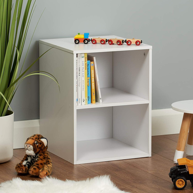 Hartleys White 2 Cube Kids Storage Unit /& 2 Easy Grasp Box Drawers