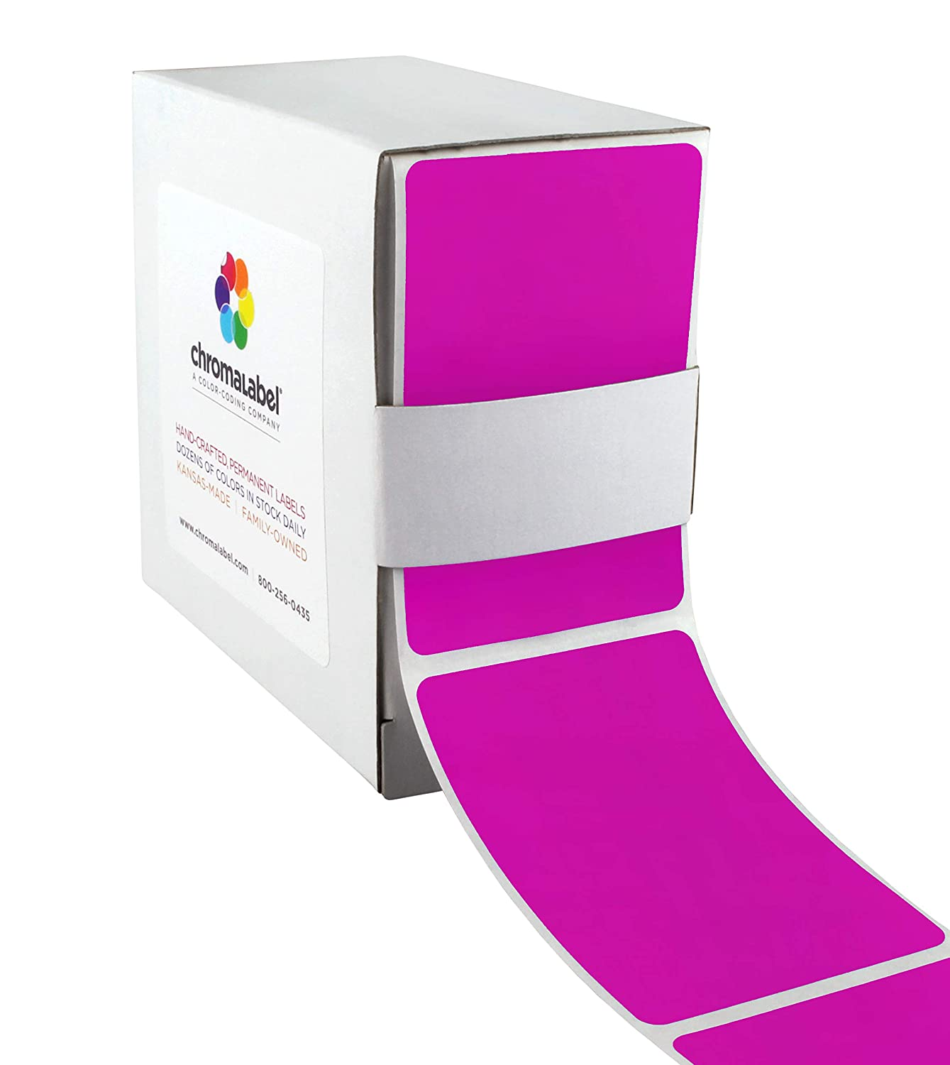 ChromaLabel 2 by 3 Inch Color Code Labels Fluorescent Green 250 Dispenser Box