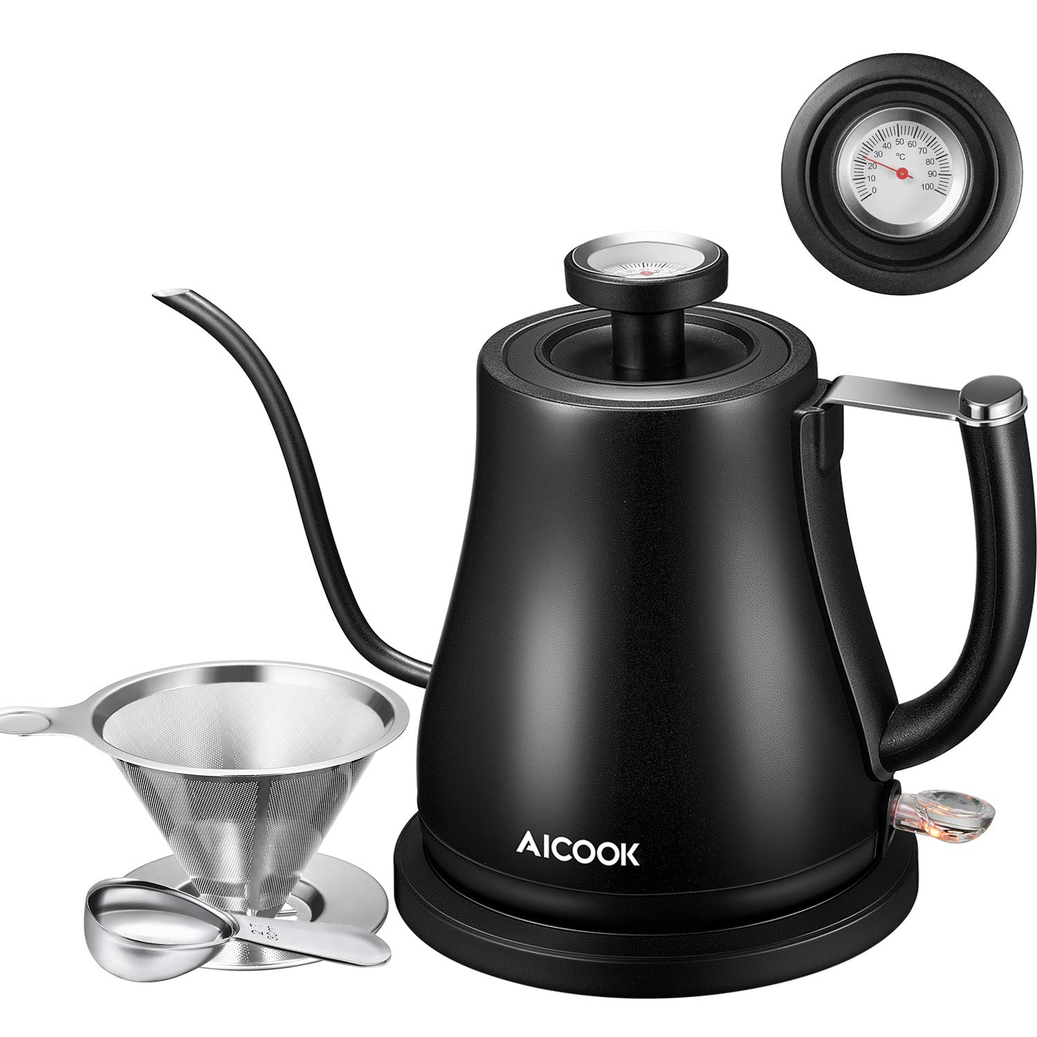 Electric Kettle, Aicook Gooseneck Kettle for Coffee or Tea, Pour Over Coffee Kettle with Thermometer, Stainless Steel Coffee Teapots Kettle with Coffee Filter and Spoon, Auto Shut-Off, 1000W, 800 mL