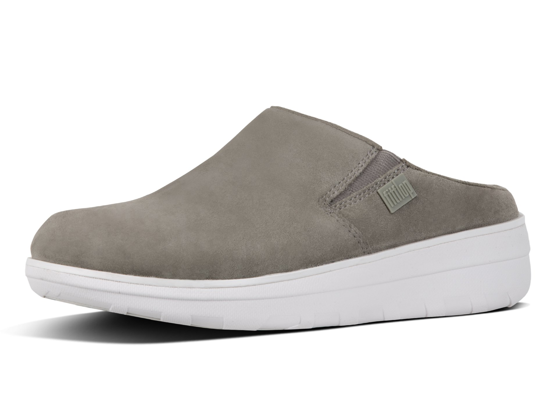 FitFlop Women's Loaff Suede Clogs, Timberwolf, 8