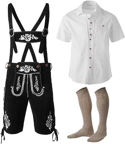 dressforfun 950000 Conjunto Tres Piezas para Hombre, Pantalón Negro Corto con Tirantes, Camisa Blanca, Traje Bávaro (Pantalón XL | Camisa XXL | No. 350010): Amazon.es: Productos para mascotas