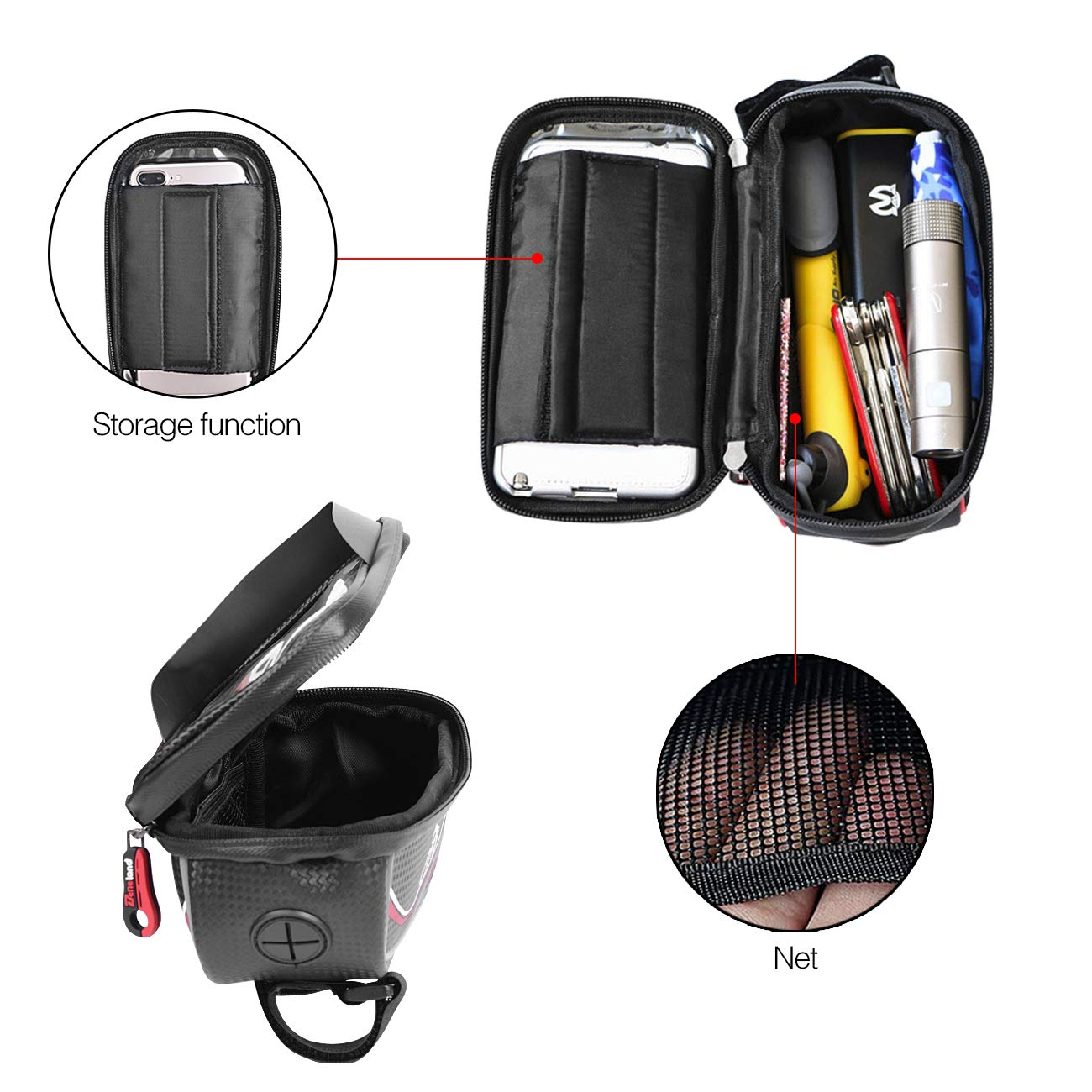 Bike Bag, Frame Bike Bag with Waterproof Touch Screen Phone Holder Case for iPhone X 8 7 6s 6 plus 5s 5/Samsung Galaxy s7 s6 note 7 Cellphone Below 6.0 Inch by Beneland (Image #6)