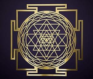 "ZenVizion 13.5"" Sri Yantra Gold Brass Wall Art Mandala, Sacred Geometry Home Decor, Meditation Symbol, Yoga Hanging Artwork, Laser Cut Wooden Wall Sculpture, Wealth, Prosperity, Abundance, Gift"