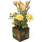 Rerxn seta fiore con steccato pentola in vaso rose artificiali per casa e decorazioni di nozze Yellow