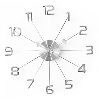 A.Cerco 19  Large Decorative Wall Clock│Solid Aluminium Casing For Clock Movement│Shinny Chromed ABS Made Numerals │Modern Industrial │Silent Movement - Silver