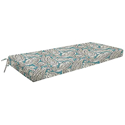 """Honeycomb Indoor/Outdoor Turquoise Paisley Bench Cushion: Recycled Polyester Fill, Weather and Stain Resistant Patio Cushions: 18.5""""L x 44""""W x 3""""H : Garden & Outdoor"""