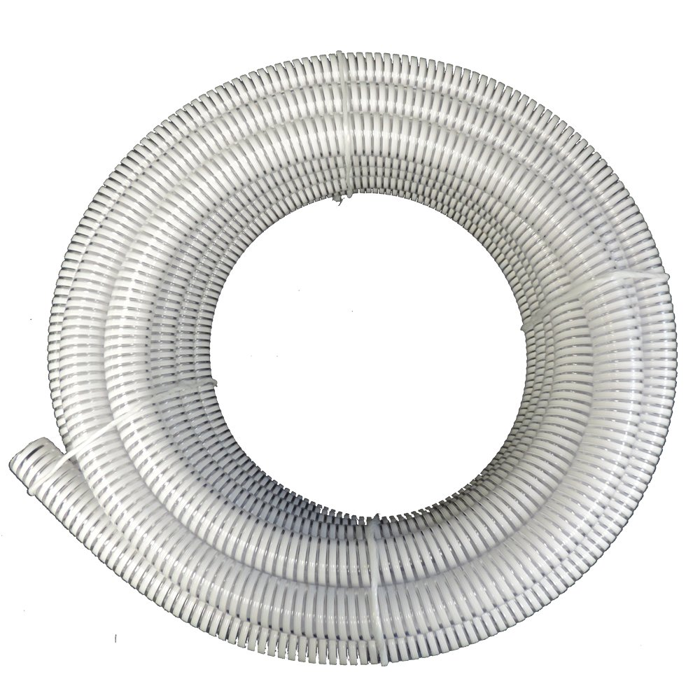 1.5'' Dia. x 100 ft HydroMaxx Clear Flexible PVC Suction and Discharge Hose with White Reinforced Helix