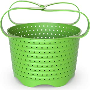 Avokado Silicone Steamer Basket for 3qt Instant Pot [6qt, 8qt avail] and Instant Pot Accessories - Strainer Insert with Silicone Handle - Perfect Pressure Cooker Accessory Protects Non-Stick IP Inserts - Rust and Dent Free - 3QT, Green