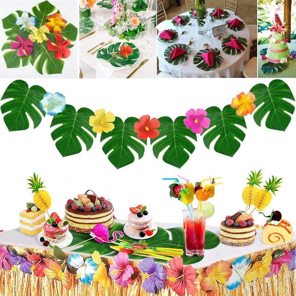 Foglie di Palma Fiori Photo Booth Stile Hawaii e Cannucce di Frutta Oro Evance 165 Pezzi Gonna Tavolo Hawaiana Tovaglia da Tavolo Set