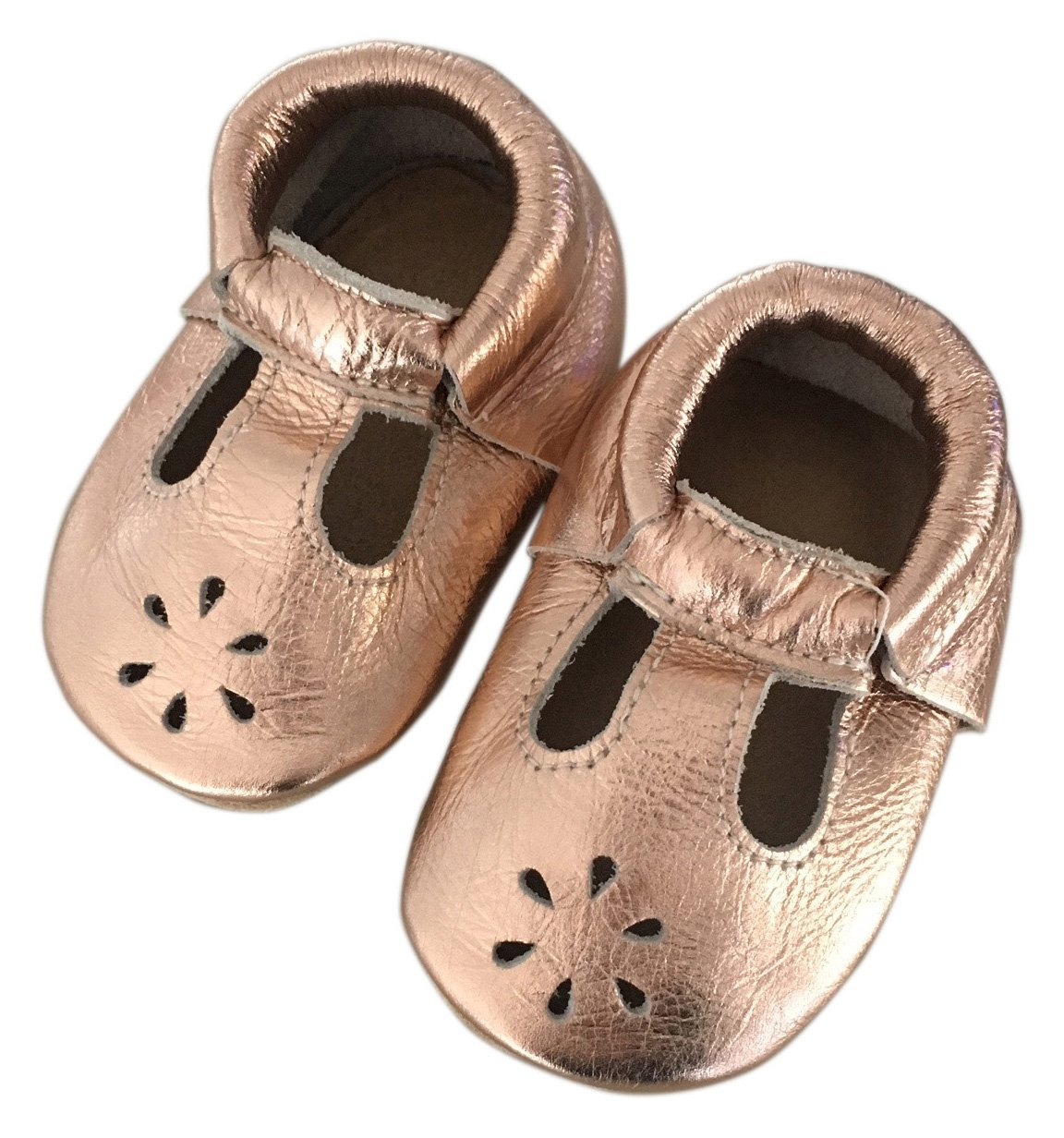 Lucky Love Baby & Toddler Soft Sole Prewalker Skid Resistant Boys & Girls Shoes (6-12 Months, T-Strap Rose Gold) by Lucky Love (Image #3)