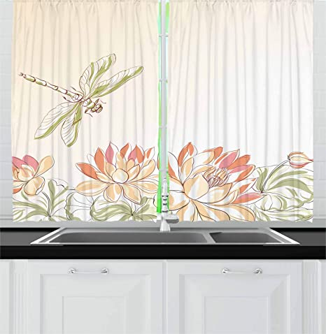 Ambesonne Dragonfly Kitchen Curtains Lotus Flower Field Winged Bug Flying Oriental Blooms Print Window Drapes 2 Panel Set For Kitchen Cafe Decor 55 X 39 Cream Peach Home Kitchen