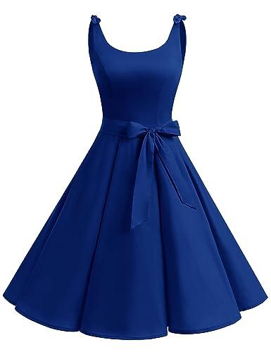 Bbonlinedress 1950's Bowknot Vintage Retro Polka Dot Rockabilly Swing Dress RoyalBlue M