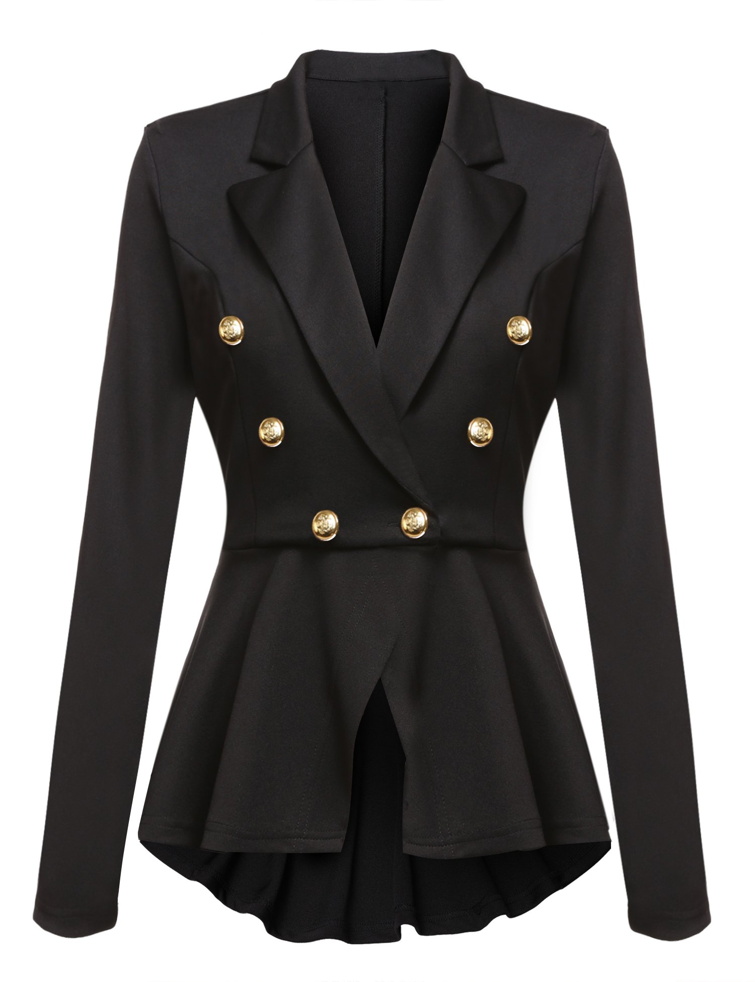 Gumod Women's Casual Work Solid Color Knit Blazer With Gold Buttons Black XL