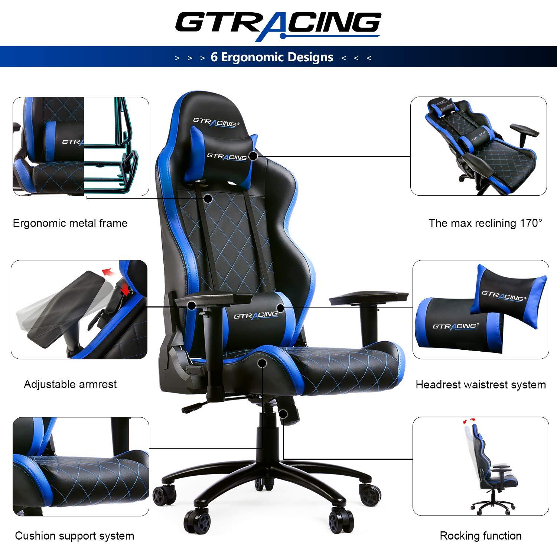 GTRACING Gaming Chair Big and Tall 350lb Gaming Chair Metal Base Adjustable Lumbar Cushion, High Back Ergonomic Leather Racing Computer Desk Executive Office Chair