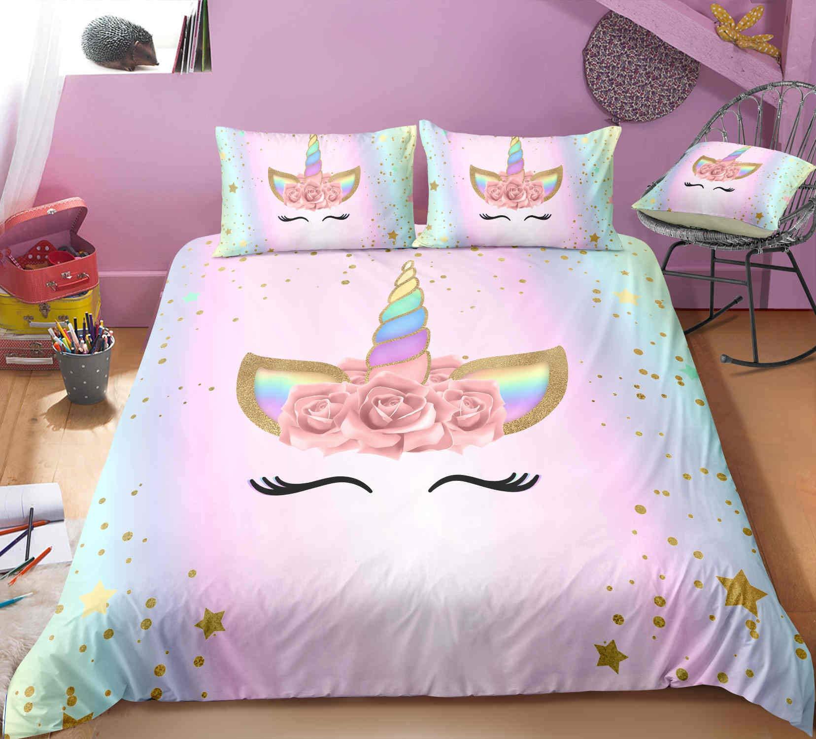 Mrbay Unicorn Duvet Cover Sets,Rainbow Kids Bedding setsFull Size,1Duvet Cover,2Pillowcase(No Comforter Inside)