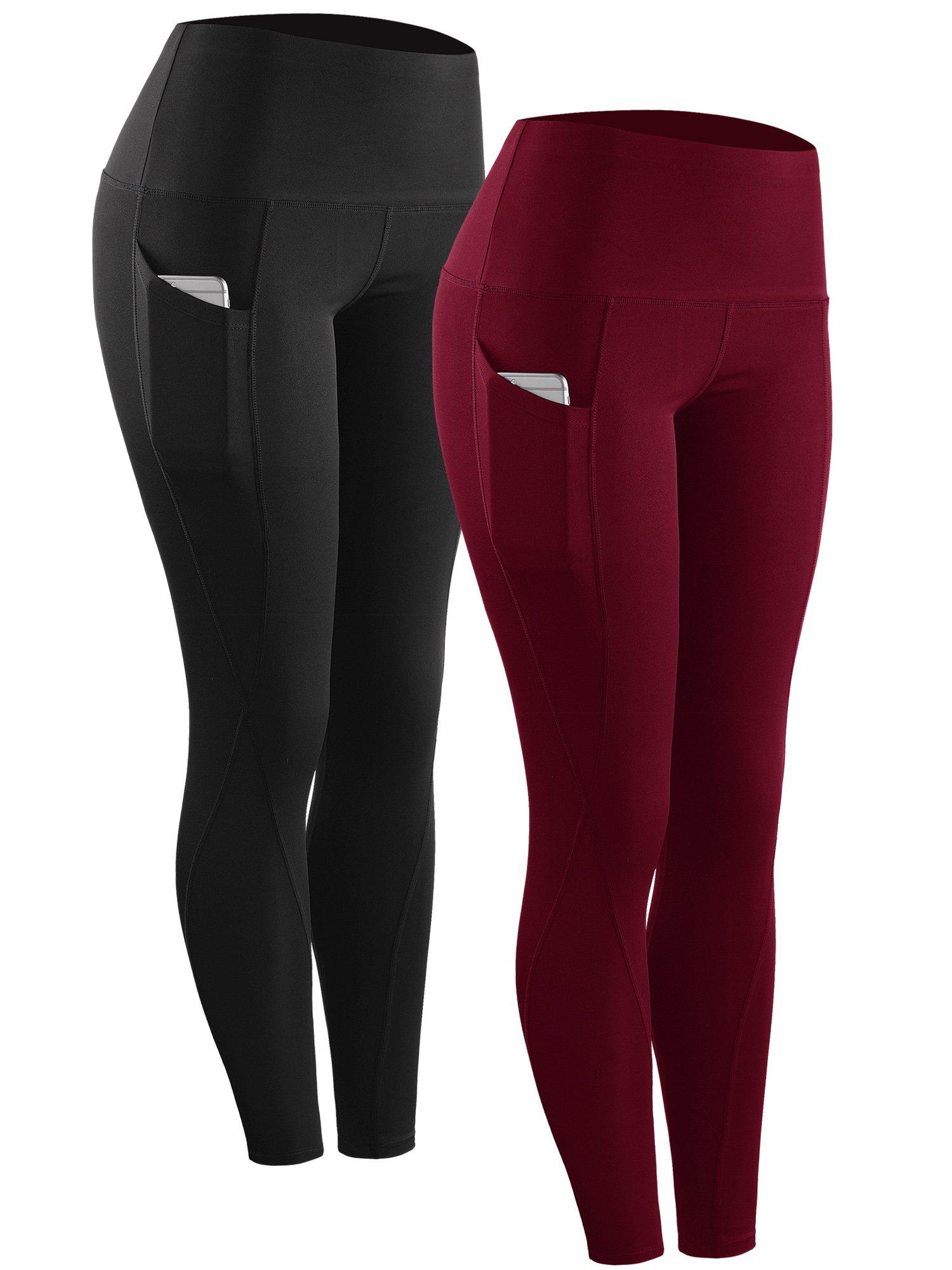 Neleus 2 Pack Tummy Control High Waist Running Workout Leggings,9017,2 Pack,Black,Red,US S,EU M