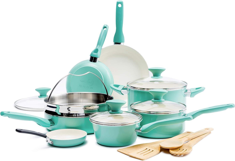GreenPan CC002482-001 Rio Ceramic Cookware Set, 16pc, Turquoise