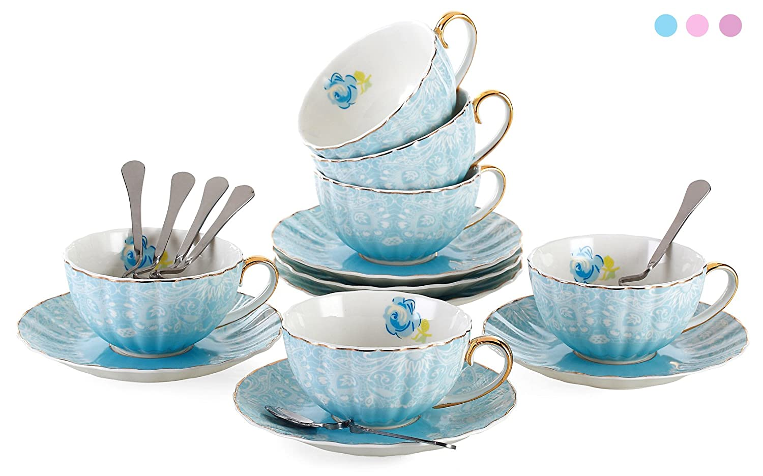 Jusalpha Porcelain Tea Cup and Saucer Coffee Cup Set with Saucer and Spoon FD-TCS04