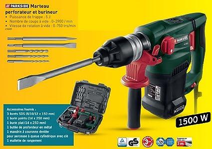 Parkside PBH 1500 B2 - Martillo neumático, perforador y cincelador (1500 W, incluye