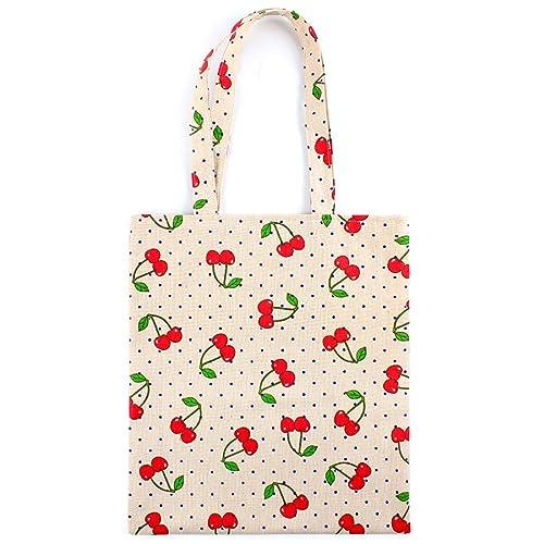 f01aa53830f0 Amazon.com: Flowertree Women's Cotton Red Cherry Pattern Canvas Tote ...