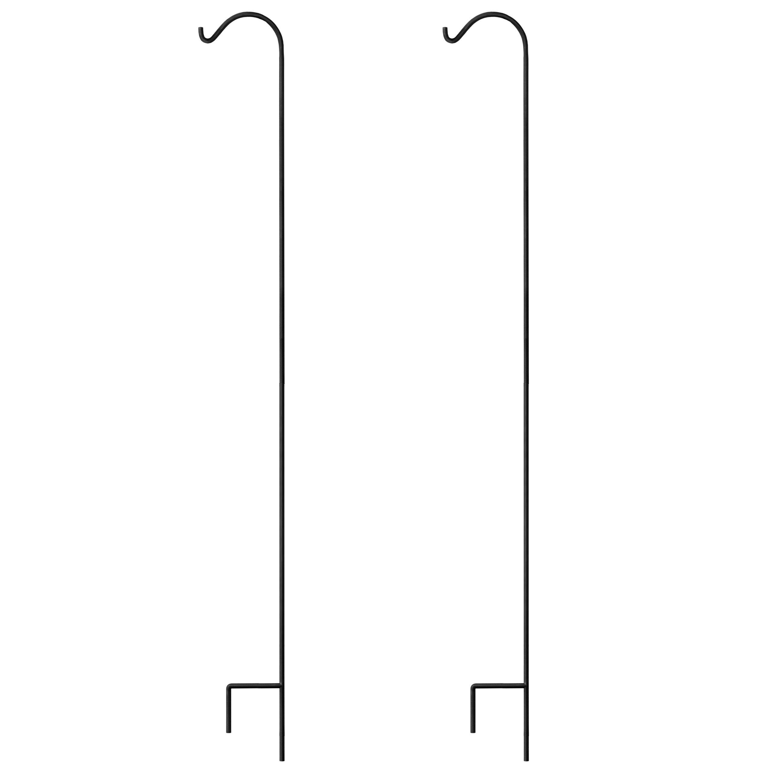 GrayBunny Shepherd Hook, 92 inch Black 3/5 Inch Thick, Set of 2, Solid Single Piece Heavy Duty Rust Resistant Premium Metal Hook Hangers For Weddings, Plant Baskets Solar Lights Lantern Bird Feeders