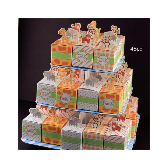 Kate Aspen Set of 24 Born To Be Wild Favor Box, Jungle Themed  Baby Gift Sets  Baby