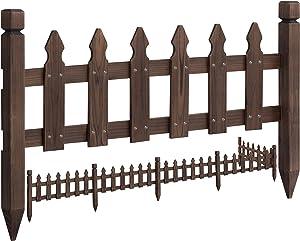Topeakmart Wood Picket Garden Fence Edging Fencing Garden Yard Border Edging Panels Posts Flower Plants Pool Fences 177.5 x 21.7'' (LxW)