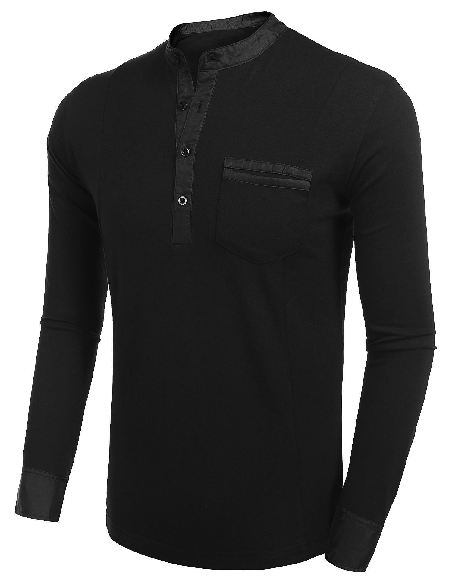 BULGES Men Casual Stand Collar Long Sleeve Polo T-Shirt S-XXL