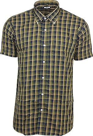 2c2c8788aac57 Relco hommes marine moutarde carreaux jaunes manche courte boutonné chemise  mod peau rétro indie - Bleu