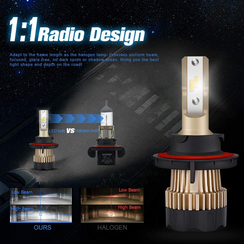 CAR ROVER 60W 12000Lumens Extremely Bright 6000K CSP Chips Hi//Lo Beam Conversion Kit H13 9008 LED Headlight Bulbs
