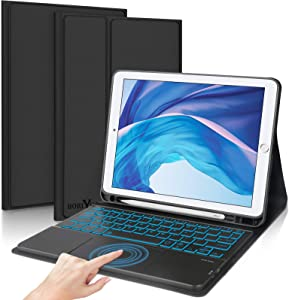 iPad Keyboard Case Touchpad for iPad 9.7 2018(6th Gen)/2017(5th Gen)/iPad Air 2&1/iPad Pro 9.7- Boriyuan 7 Colors Backlit Detachable Keyboard Folio Smart Cover with Trackpad for iPad 9.7 inch (Black)