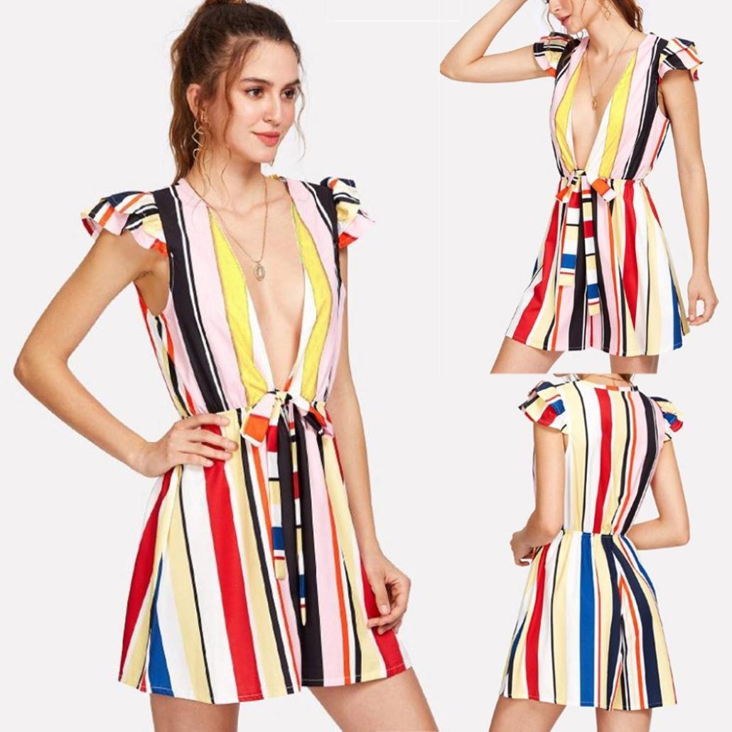 409cae05181 Amazon.com  Rambling New Sexy Stripe Print High Waist Deep V Collar Jumpsuit