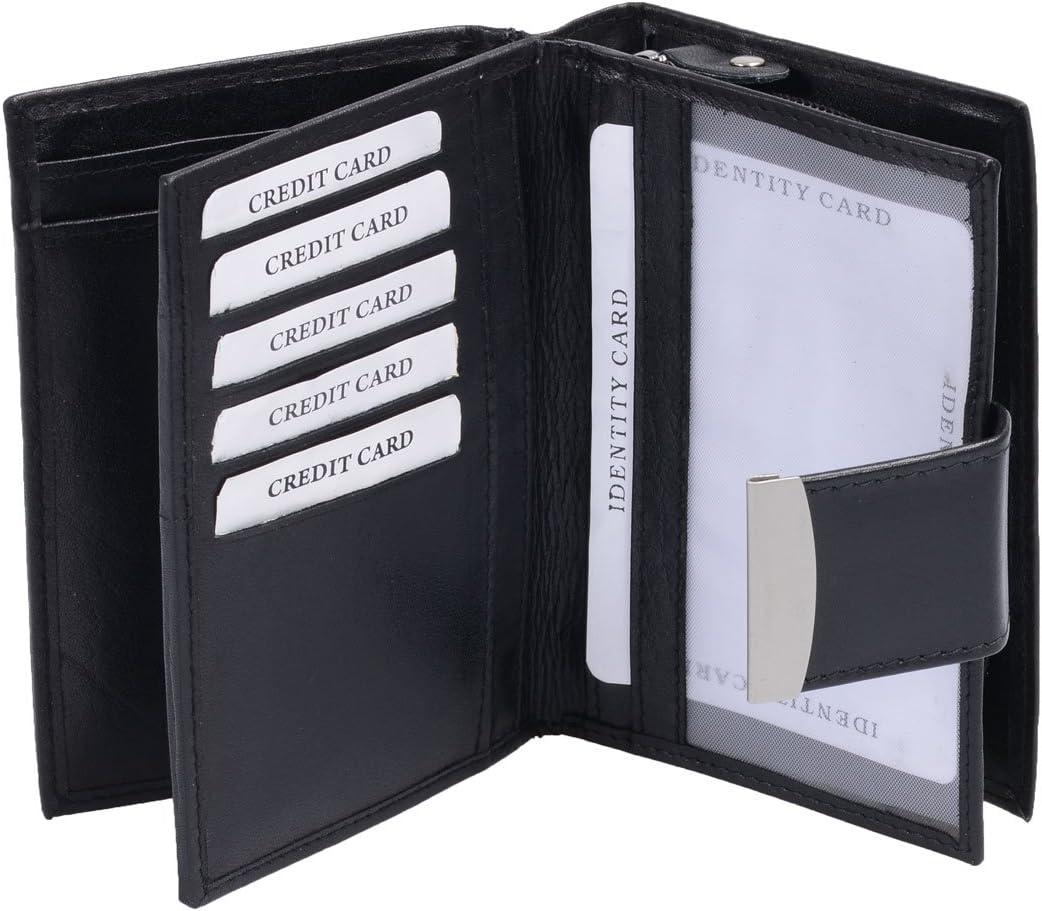 schwarz 13x9cm Echt-Leder AVANCO Damenb/örse