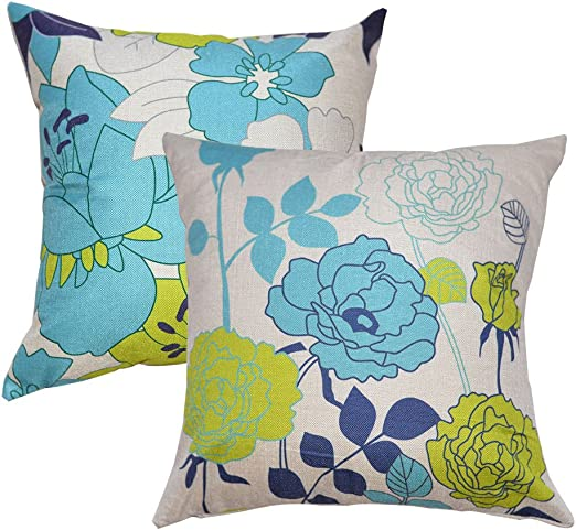 FIBEROMANCE Flowers Throw Pillow Covers Pillow Protectors 18 x 18 Inch Set of 2 Spring Decorative Cushion Cases for Sofa Couch Bedroom Home Decor Cotton Linen Square Pillowcase Blue Yellow