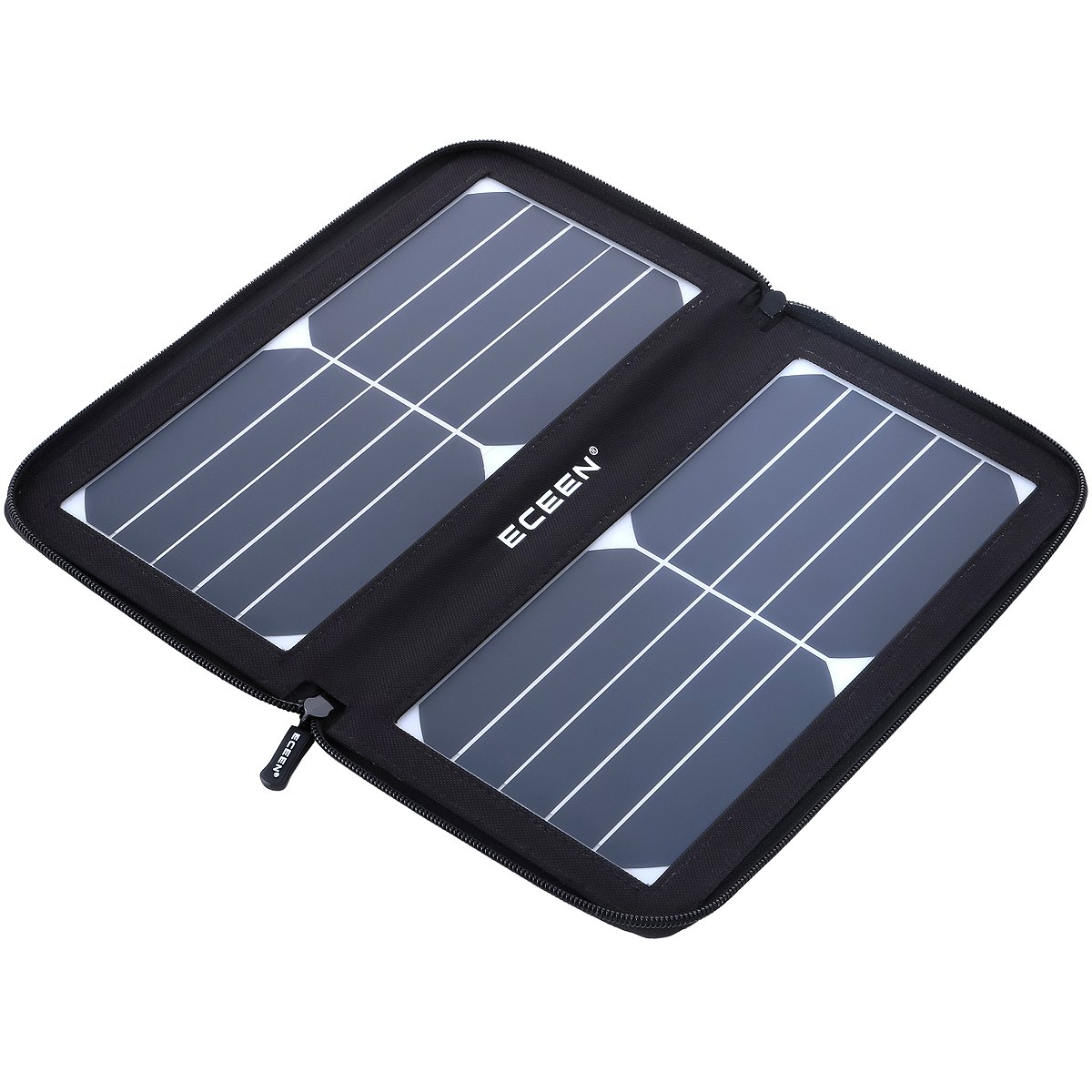 ECEEN Folding Solar Panel Phone Charger With USB Port,Zipper Pack for iPhone, iPad, iPods, Samsung, Android Smartphones Speaker Gopro All 5V USB-Charging Devices (Black) by ECEEN