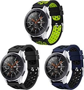 Hagibis Compatible Samsung Galaxy Watch 46mm Band/Samsung Gear S3 Frontier/Samsung Gear S3 Classic Watch Band, 22mm Replacement Silicon Band (3 Colors-F)